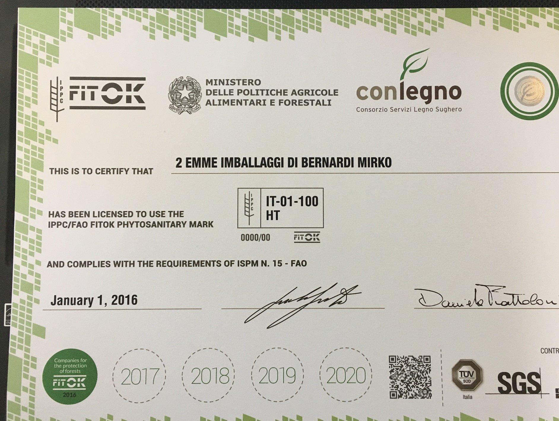 Certificato Fitok di 2 EMME IMBALLAGGI, grignasco (NO)
