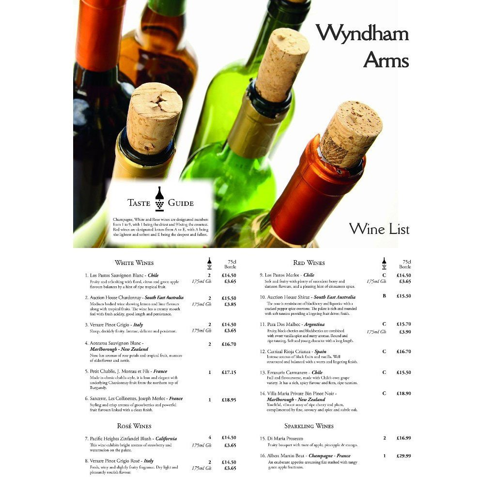 Menu for Wiltshire Wines