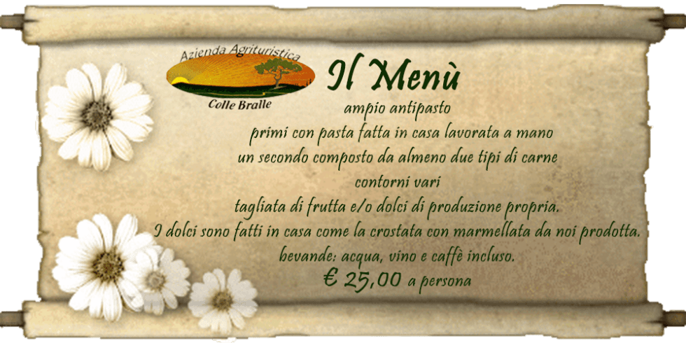 menu Colle Bralle