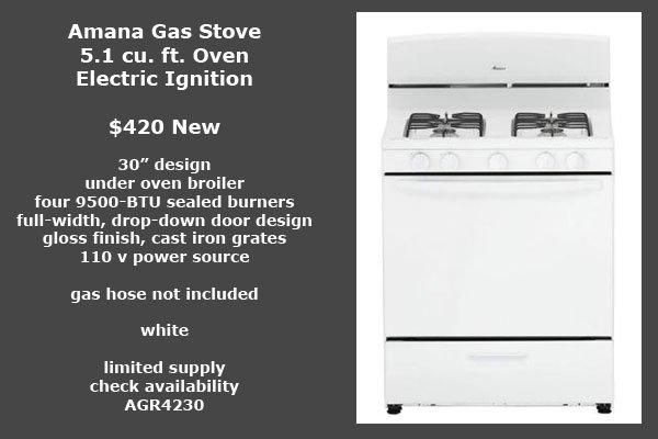 Amana 30 inch gas stove