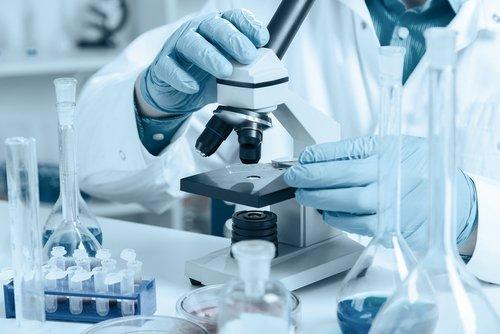 Tecnico di laboratorio usa il microscopio
