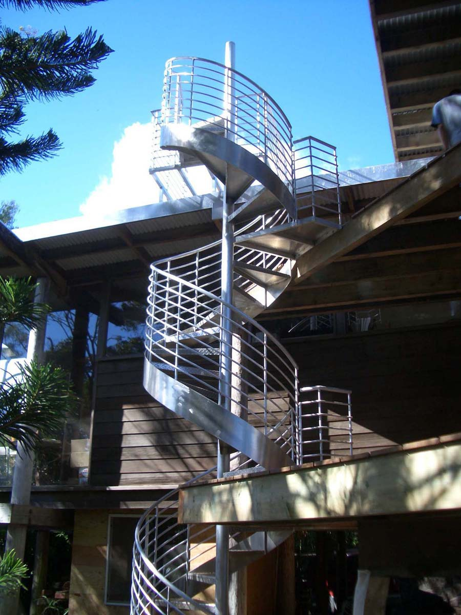 Spiral staircase fabricated by Omega Pacific Inc. in Honolulu, Hawaii