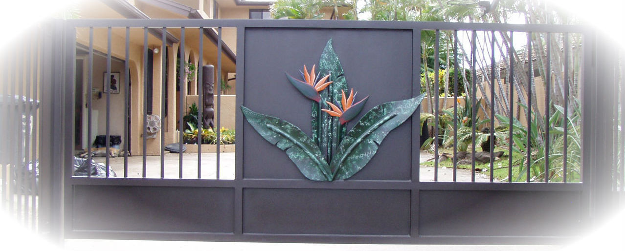 bird of paradise driveway gate on Oahu
