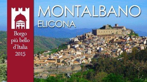 un depliant con l' immagine di una città e una scritta Montalbano Elicona