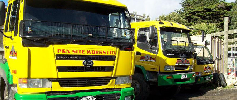 Vehicles used for drainlaying and site works in Wellington