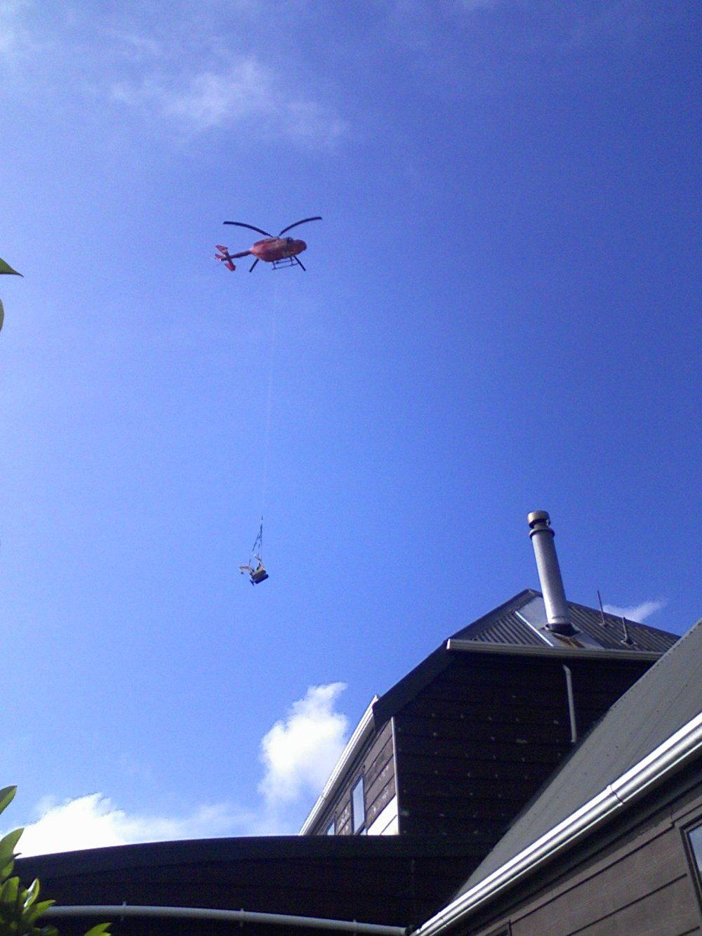 View of the Helicopter transporting the goods
