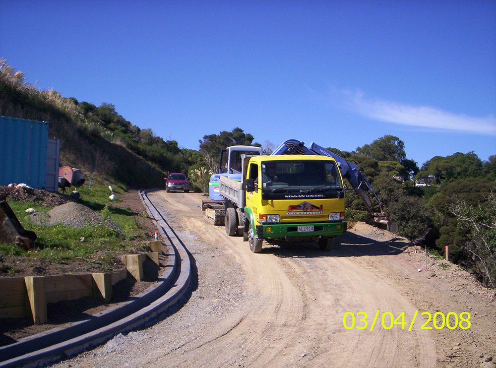 View of the truck moving in at the project site