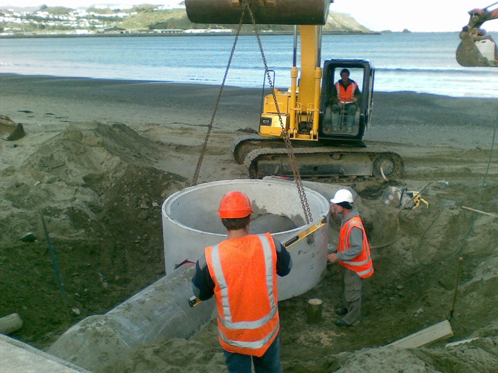 Stormwater outlet being constructed