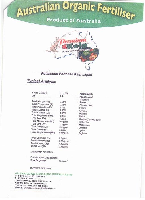 Premium kkelp liquid kelp concentrate a Australian Organic Fertiliser Ad Avezzano