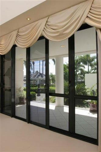 crimsafe screens with drapes