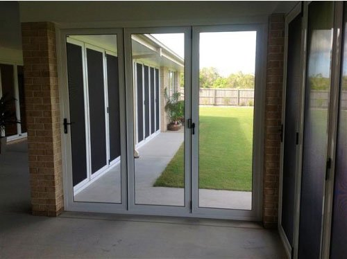 white glass doors