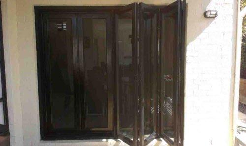 black folding door
