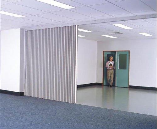 white room divider blue door