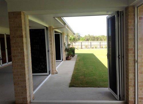 brick porch and screen doors