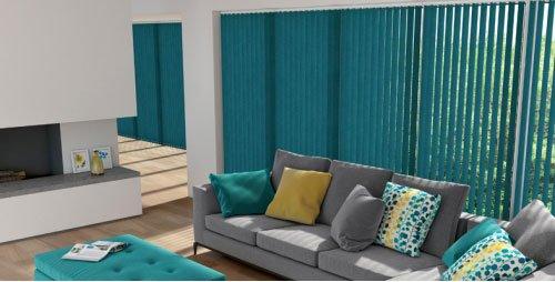 teal vertical blinds