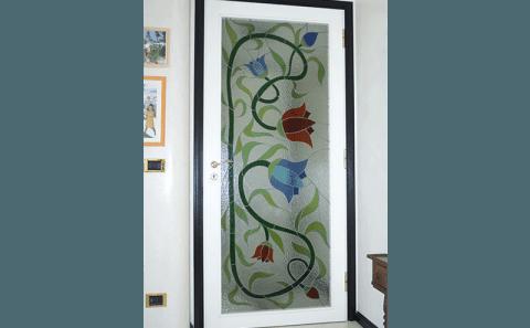 Porta interno con vetro rilegato a piombo