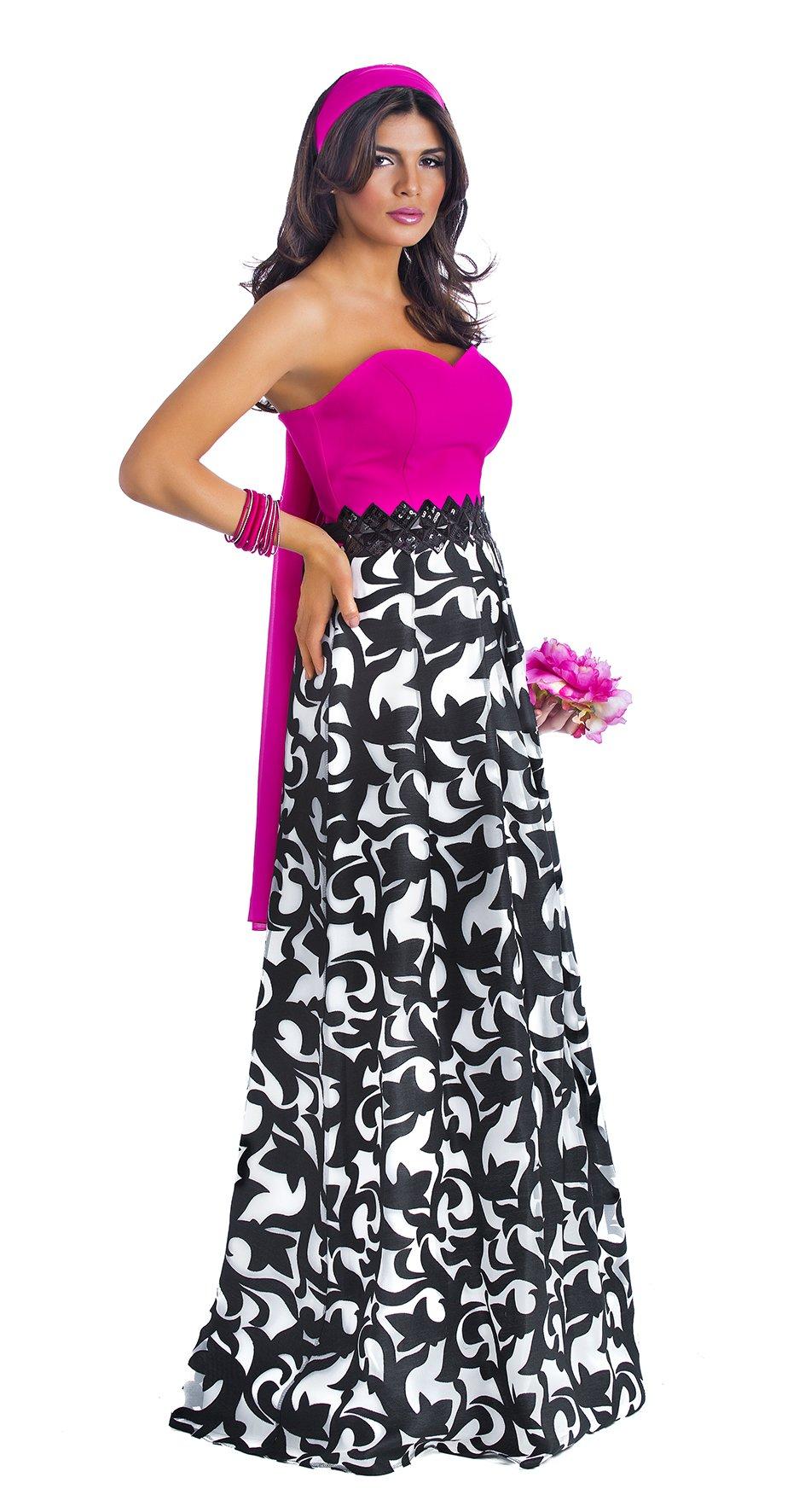 abito lungo estivo fucsia e motivo floreale bianco e nero
