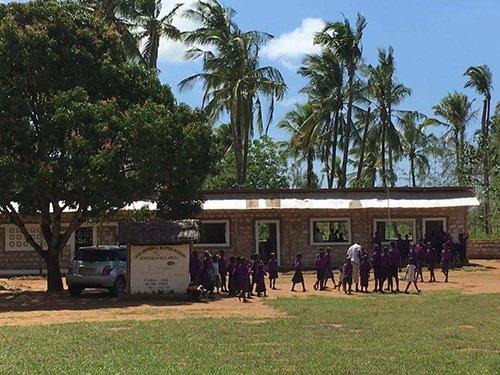 Bambini in fila con camicie viola vanno a scuola