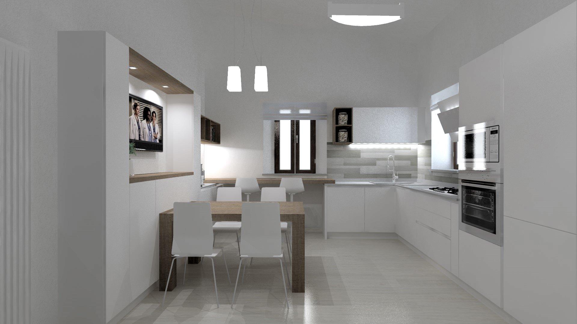 cucina minimal bianca