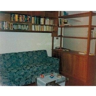 Divano ad angolo blu con libreria