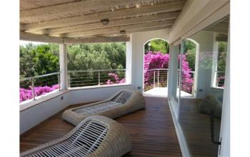 terrazza con sdraio, fiori viola e vista su alberi