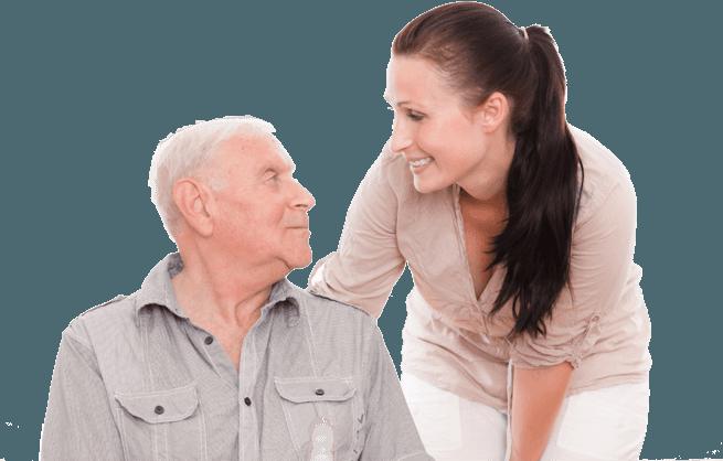 Elderly man with domiciliary nurse