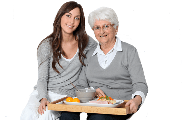 Old mother with daughter during homecare
