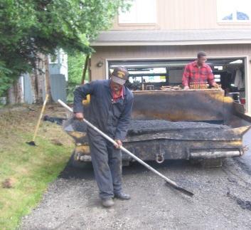 raking out the asphalt