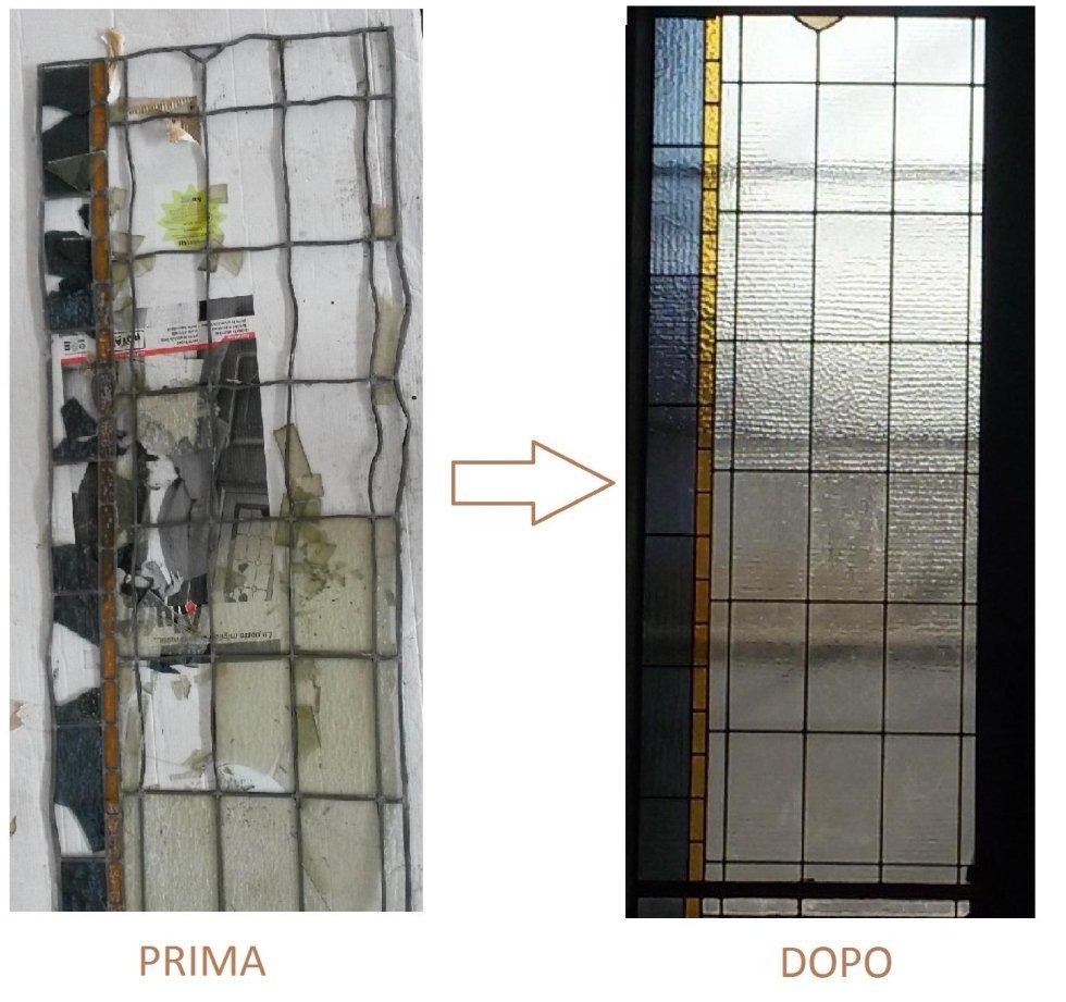 Restauro vetrata rilegata in piombo prima e dopo l