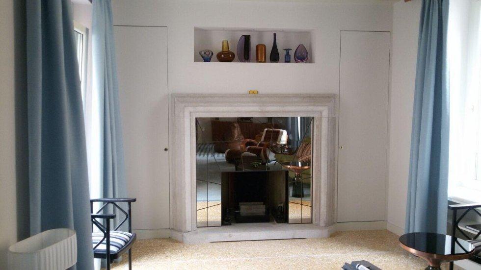 Cornice caminetto in Specchio Antico rilegato in piombo