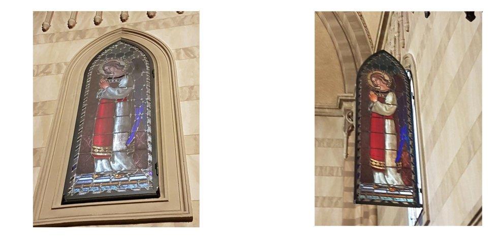 Modifica telaio con Installazione apertura a battente vetrata Parrocchia Buon Pastore (Brescia)