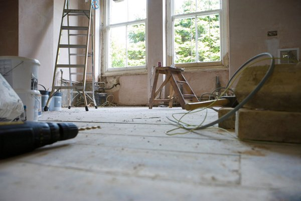 Interior of home in Lincoln as painters complete work