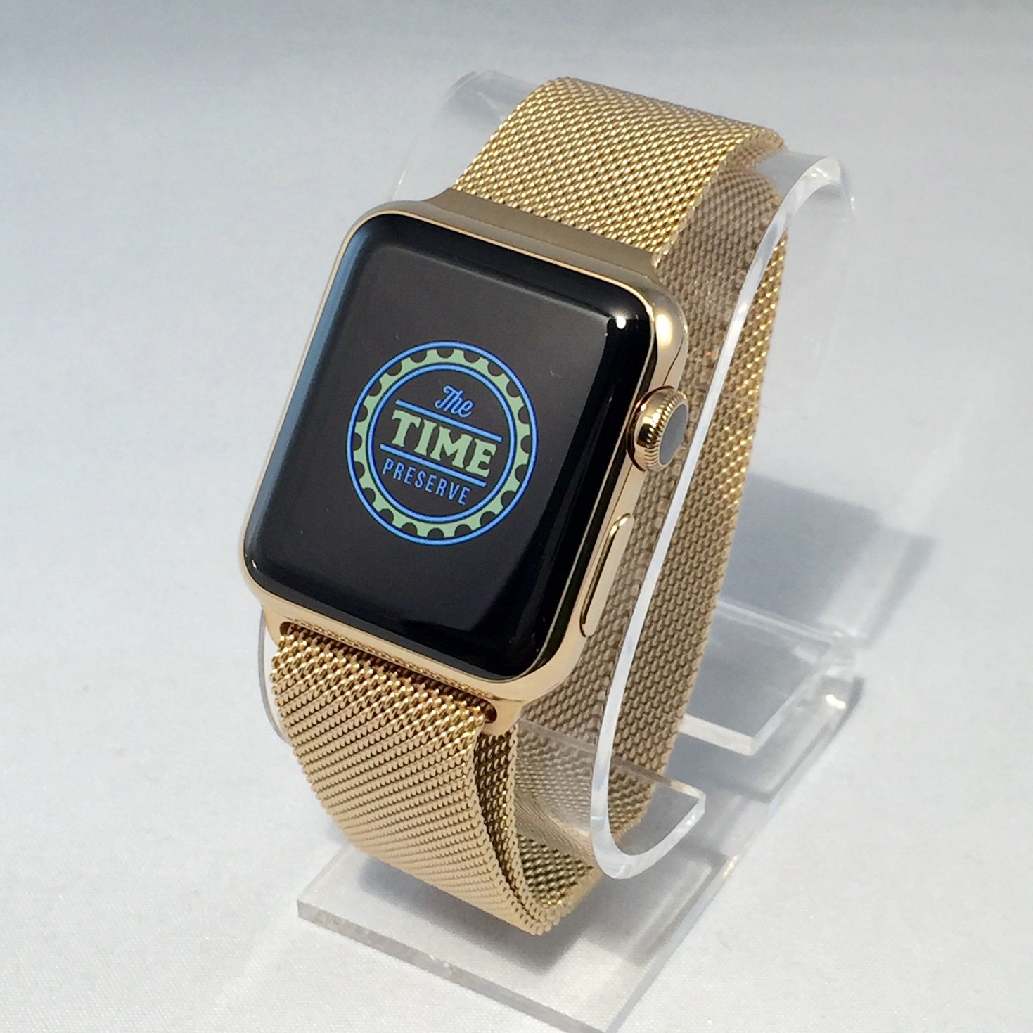 Apple watch gold plated with milanese loop The Time Preserve