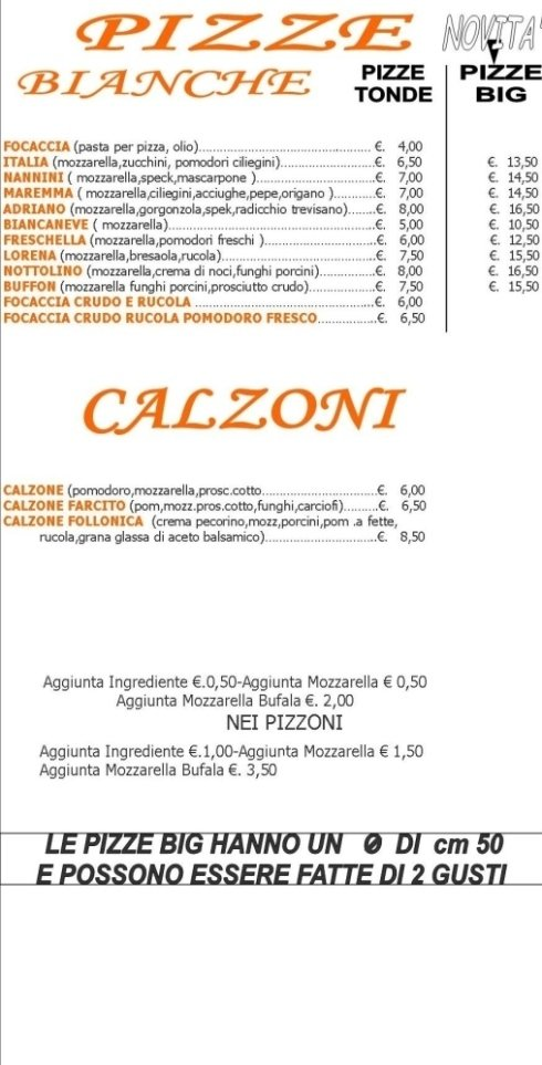 Menù Pizzeria-Ristorante Il Triangolo, Follonica (GR)