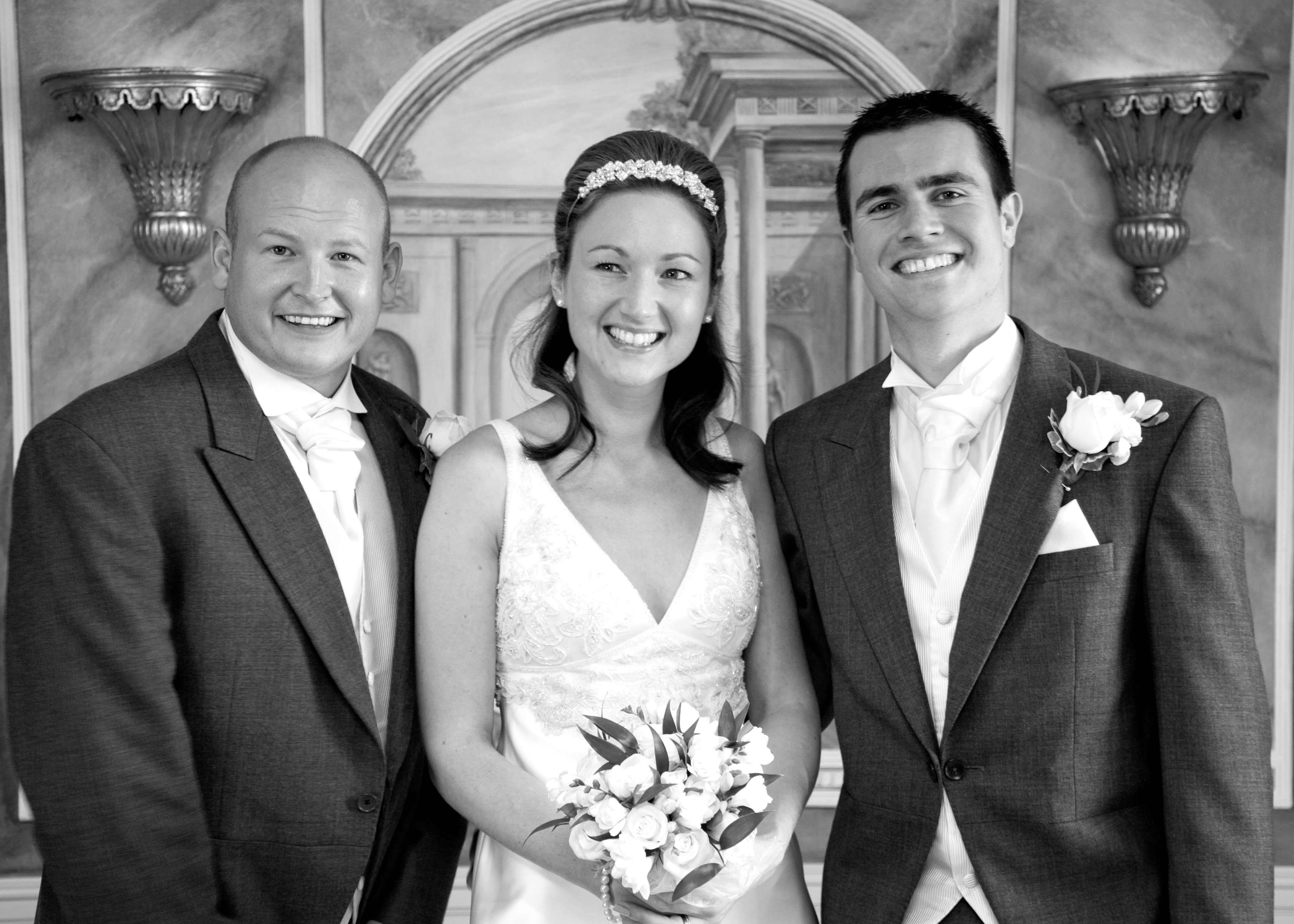 Bride, groom and best man