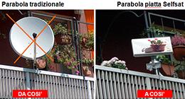 parabole piatte, impianti satellitari centralizzati, impianti sky