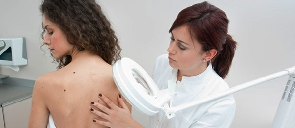 Newcastle Skin Check woman getting checked for melanoma