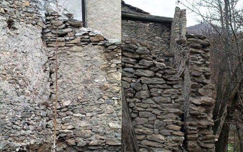 parete in pietra prima e dopo ristrutturazione
