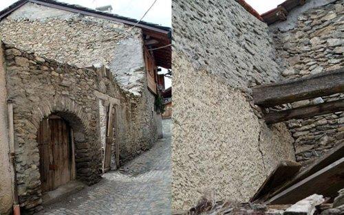 esterna della casa con pareti in pietra