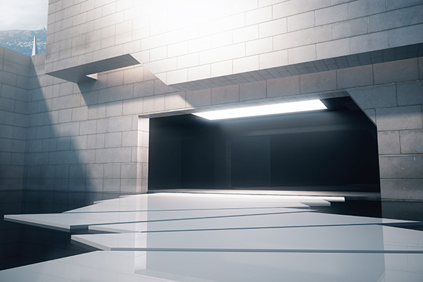 Edificio illuminato con leds
