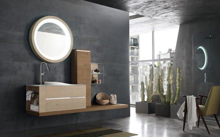 lavabo in legno chiaro