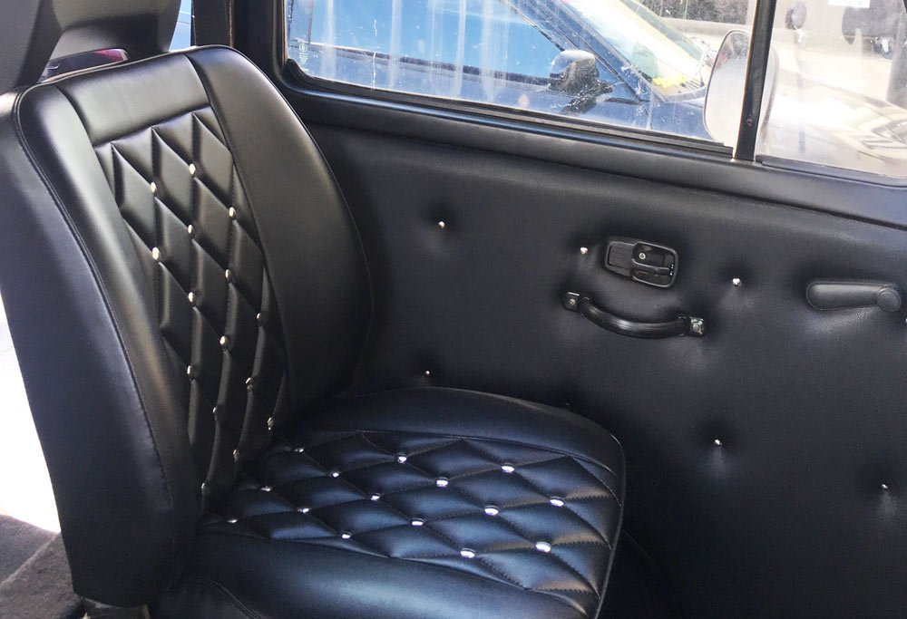 custom black car interior