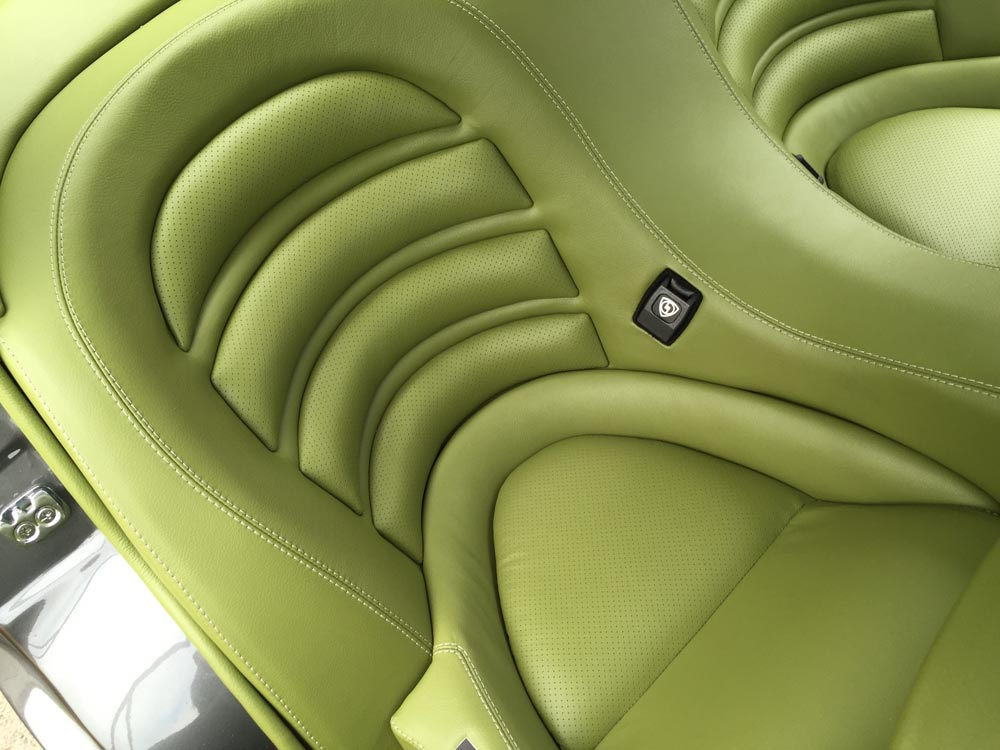 green interior car seats