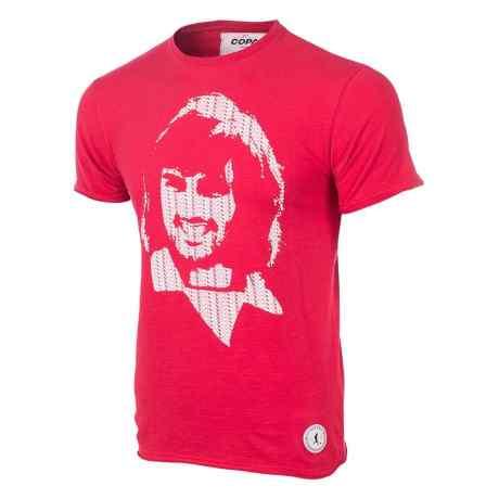 una maglietta rossa con sopra george best