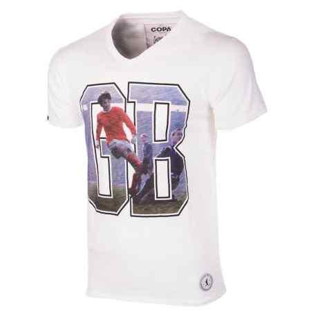 una maglietta bianca con un calciatore e la scritta GB