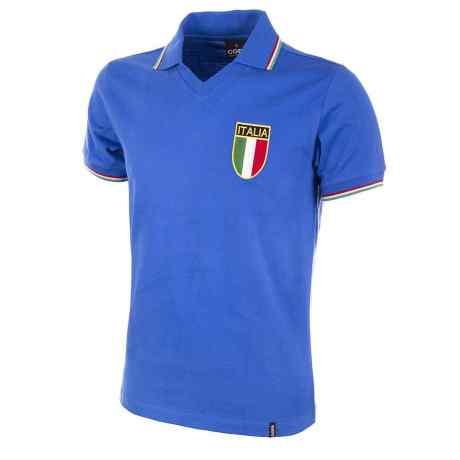 una maglia di color rosso e blu con scritto ITALIA