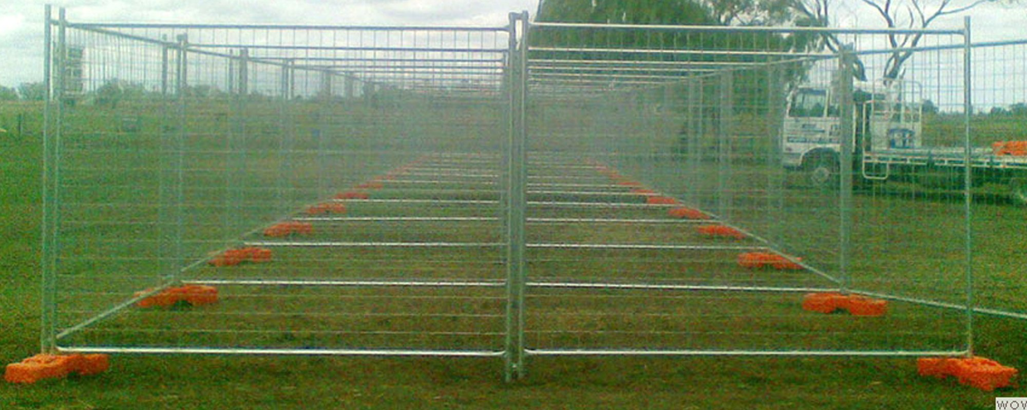 View of tall temporary fencing