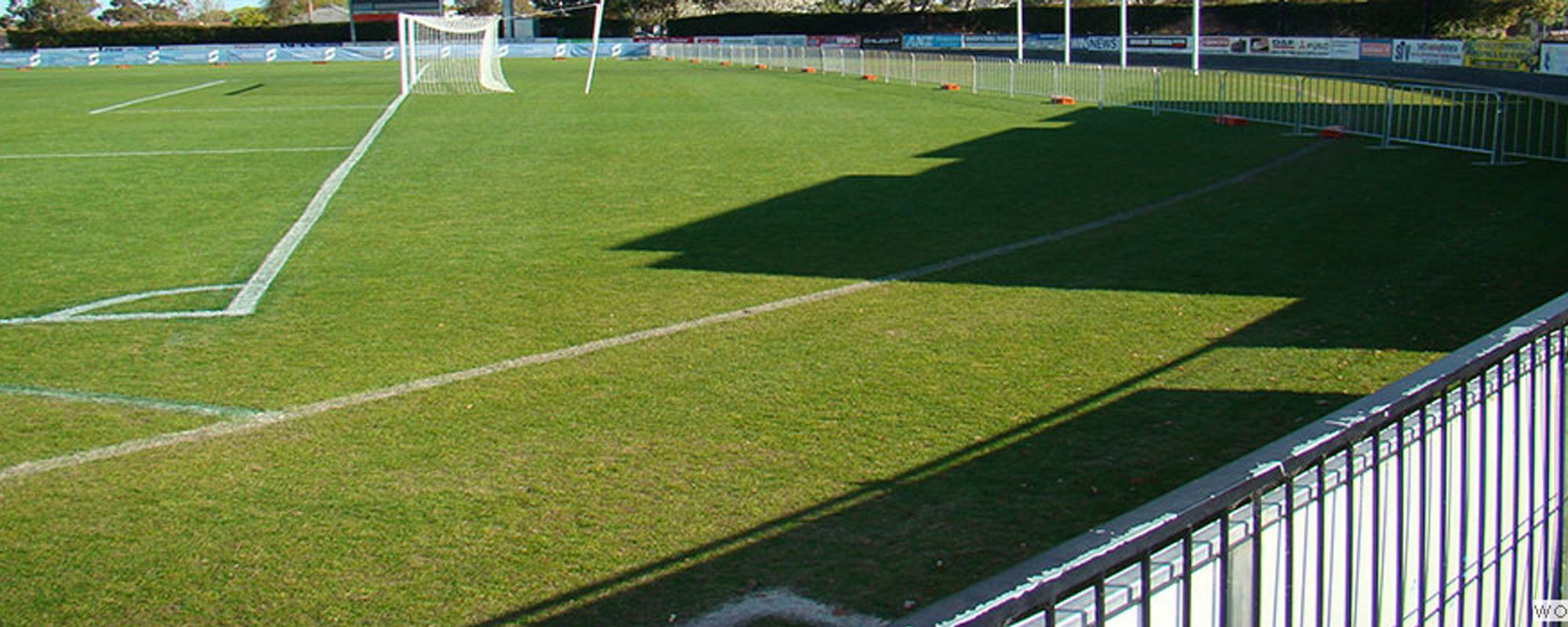View of temporary fencing in the playing field