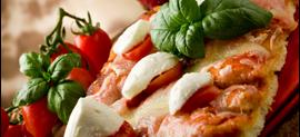 pizza farcita con basilico