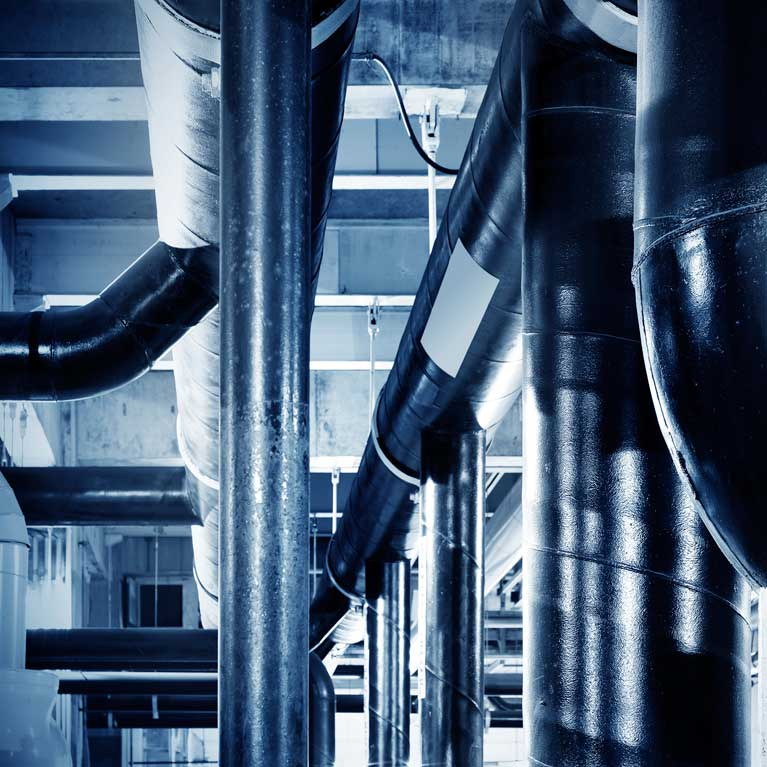 industrial pipes in commercial building